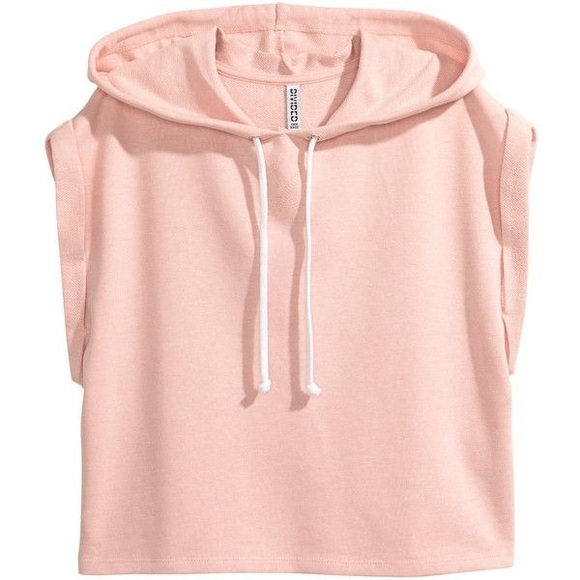 e9846121354 H&M Tops | Hm Womens Pink Cropped Sleeveless Hoodie | Poshmark